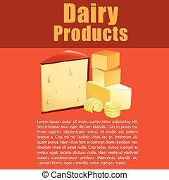 Dairy products with cheese and text