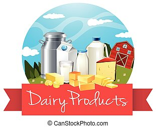 Dairy products with text