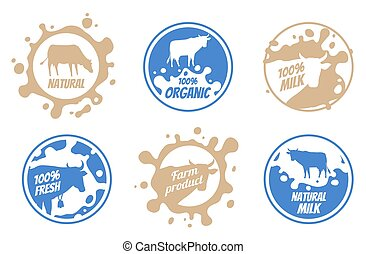 Dairy vintage vector logos, milk badges, cheese packaging labels with farm animal. Dairy badge of set, fresh milk product label and badge illustration.