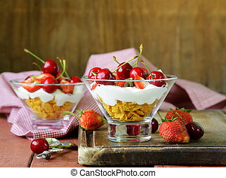 Dairy yogurt dessert with cherries