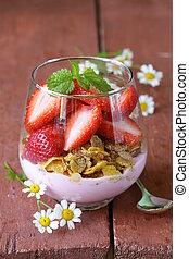 Dairy yogurt dessert with muesli