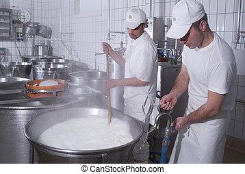 dairymen, qui, préparer, les, mozzarelle