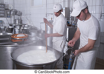 dairymen, who prepare the mozzarella - processing steps in a...