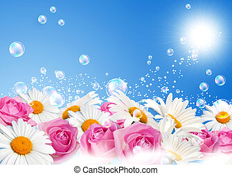 Daisies against the sky - Daisies, roses and bubbles against...