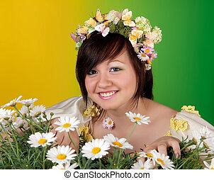 daisies, and, весна, девушка