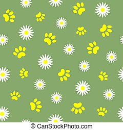 Daisies and animal paw prints seamless pattern