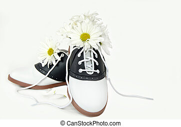 daisies and saddle shoes - Daisy bouquet in saddle shoes...