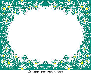 Daisies frame - Pretty hand-drawn frame with white daisies ....