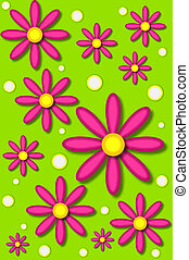 Daisies in hot pink backed by lime - Scrapbooking background...