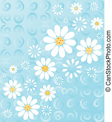 Daisies on Blue - White daisies on a whimsical background of...