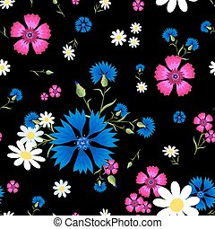 daisies,pink carnation and blue cornflowers