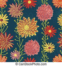 Daisy and Aster flowers seamless vector pattern. Bright red pink purple yellow flowers on blue background. Contemporary seasonal floral repeat tile. Hand drawn design for fabric, home decor, paper