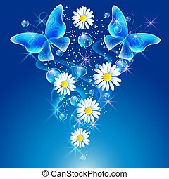 Daisy and butterflies in the sky