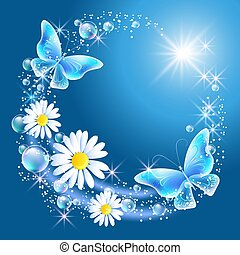 Daisy and butterflies in the sky - Butterflies with bubbles...