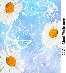 Daisy and butterflies - Daisies and transparent butterflies...
