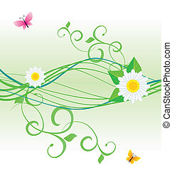 daisy and butterfly green spring and summer nature vector
