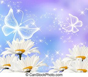 Daisy and transparent butterflies - Daisy, transparent...