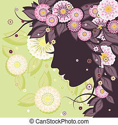 Daisy background with face silhouette - Floral decorative...