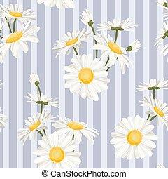 Daisy chamomile field flowers seamless pattern