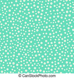 Daisy chamomile seamless pattern on blue background