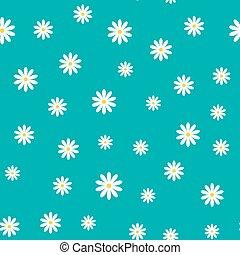 Daisy chamomile vector seamless pattern