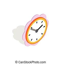 Daisy clock icon, isometric 3d style