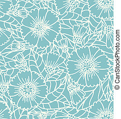 Daisy doodle lace seamless pattern