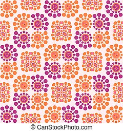 Daisy Dot Retro Flower Seamless Vector Pattern