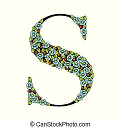 Daisy floral letter S