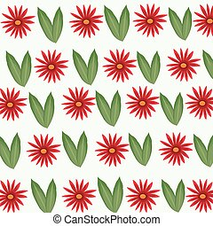 daisy flower and leaf decorative seamless pattern