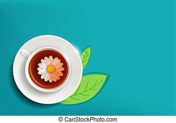 Daisy flower in a cup of tea. Herbal chamomile drink