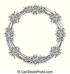 Daisy flowers circle frame