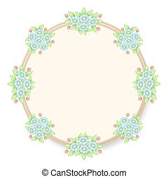 Daisy flowers pastel circle frame
