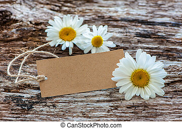 Daisy flowers with a vintage tag
