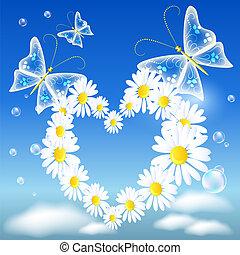 Daisy heart and butterflies - Butterflies and daisy heart in...