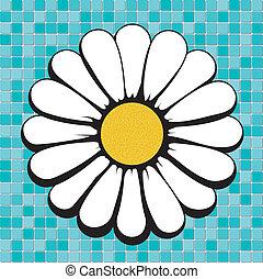 daisy on blue mosaic, vector illustrations, image format -...