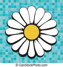 daisy on blue mosaic, vector illustrations, image format -...