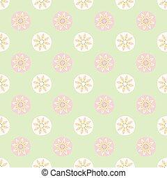 Daisy Polka Dot Seamless Vector Pattern. Spring Green Flower Circle.
