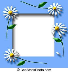 daisy scrapbook frame - white daisy and leaf spring frame...