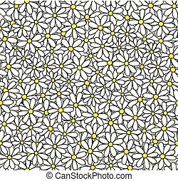 Daisy seamless vector pattern. Floral background