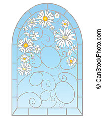 daisy window - an illustration of a beautiful stained glass ...