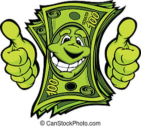 dając pieniądze, do góry, illustr, wektor, kciuki, siła ...