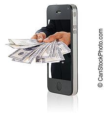 dając pieniądze, na, mądry, telefon