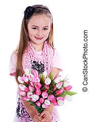 daje, kwiaty, córka, matki