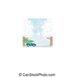 dak, auto, kerstboom