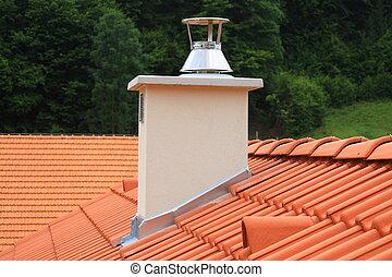 dak, en, schoorsteen