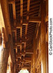 dak, tempel, houten