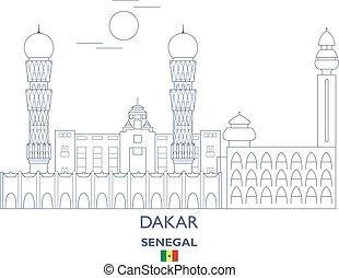 Dakar City Skyline, Senegal - Dakar Linear City Skyline,...