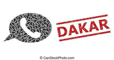 dakar, message, fractal, collage, téléphone, cachet, articles, textured