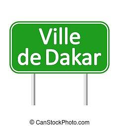 dakar, ville, signe., de, route